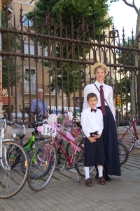 Familia a Sant Pau - 4a Bicicletada Modernista